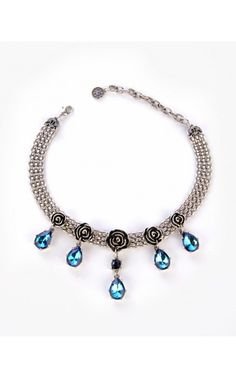 Such a beautiful color. Grace Rose Collar Necklace in Peacock Blue from #pinupgirlclothing