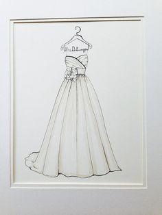 Custom Wedding Dress Sketch by DrawtheDress on Etsy, $50.00 Wedding shower present