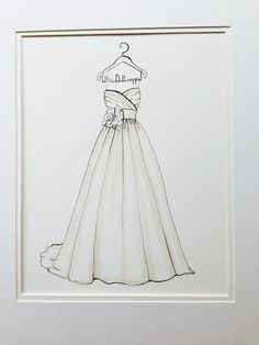 Custom Wedding Dress Sketch by DrawtheDress on Etsy, $50.00 Wedding shower present