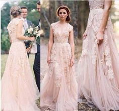 Wedding, dress, peach, cream, lace, long, flowers