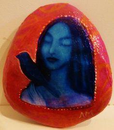 Blue Bird Painted Stone by AliceMasonArtist on Etsy, $42.00