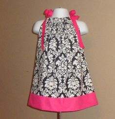 Items similar to Beautiful Damask with Hot Pink Pillowcase Dress 3 6 9 12 18 month mo 4 5 6 . By Girlie Bows on Etsy Toddler Outfits, Girl Outfits, Cute Outfits, Little Girl Dresses, Girls Dresses, Summer Dresses, Sewing For Kids, Sewing Ideas, Pink Fabric