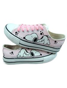 Cute Pink Hand-painted Canvas Flat Shoes For Women