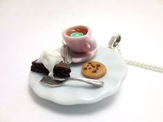 Chocolate Cake Cookies and Tea Necklace by CandiWareJewelry, $20.00