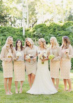 PERFECT!!! neutrals with texture!    Neutrals & Lace - Modest Bridesmaids Love tthe idea!