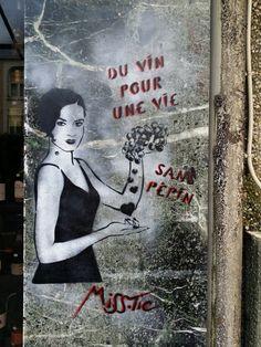 """""""Du vin pour une vie sans pépins"""" (Wine for a life without whine) ; """"Ivre morte pour la patrie"""" (Dead drunk for the country) - Stencil paintings by Miss Tic in Paris 13th district. """"Du vin pour une vie sans pépins"""" ; """"Ivre morte pour la patrie"""" - Pochoirs de Miss Tic à Paris (13ème arrondissement). Grafitti Street, Street Art, Paris 13eme, Paris France, Art Du Vin, Land Art, Urban Art, Illustration, Stencils"""