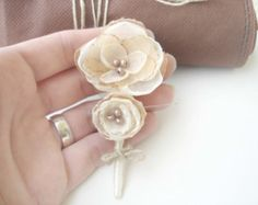 Peach Wedding Boutonniere Burlap Boutineers for by MBrides