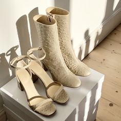 As seen on Lauren Crowe. Exclusively online. Perfect beige boots and sandals for every season. Beige Boots, Glitz And Glam, Peep Toe, Footwear, Sandals, Luxury, Heels, Collection, Women