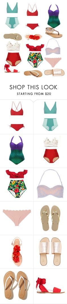 """""""Swimsuits&Sandals"""" by supernatural-fan-girl ❤ liked on Polyvore featuring Emma Pake, Flagpole, River Island, Marysia Swim, Havaianas, Charlotte Olympia, L.E.N.Y., Hollister Co., Marques'Almeida and Penny Loves Kenny"""