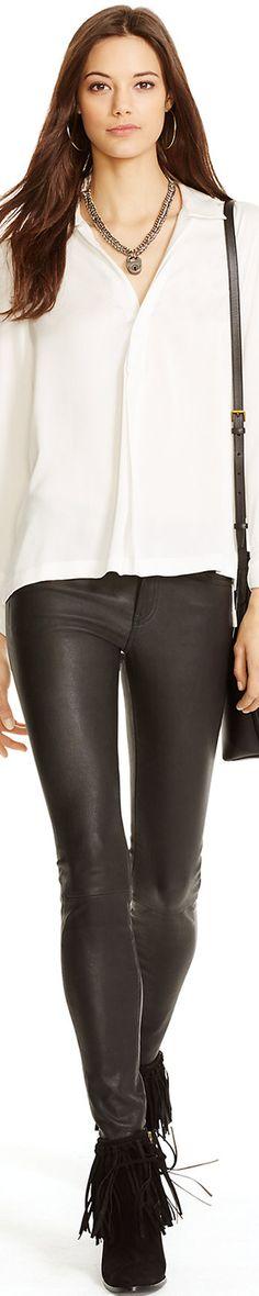 Ralph Lauren Stretch Leather 5-Pocket Pant