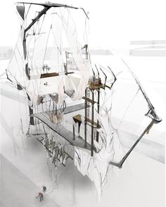 The Hidden Orchestra by French graduate architect Alice Labourel: These futuristic images imagine a shape-shifting ballet school that alters its elaborate structure to react to the movements of dancers, trains and the river - who cares if its constructible...its art!!!