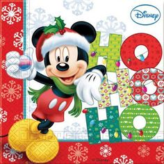 Unique Party Mickey Mouse Christmas Paper Napkins (Pack of Arte Do Mickey Mouse, Mickey Mouse And Friends, Disney Mickey Mouse, Walt Disney, Disney Merry Christmas, Mickey Mouse Christmas, Christmas Time, Xmas, Christmas Paper Napkins