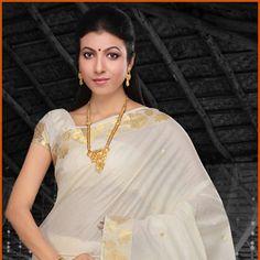 Off White Cotton Kerala Kasavu Saree with Blouse