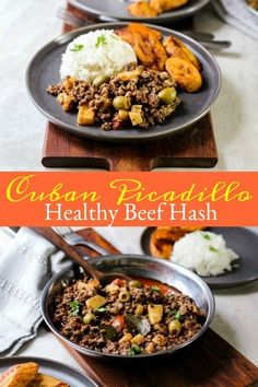 This tasty Cuban picadillo (beef hash) recipe is loaded with potatoes, green olives, and the coveted flavors of Cuba! A must make weeknight dinner recipe the whole family will love! Cuban Picadillo, Picadillo Recipe, Roast Beef Recipes, Cuban Recipes, Spanish Recipes, Potted Meat Recipe, Puerto Rico, Spanish Rice Recipe, Beef Hash