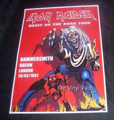 Iron Maiden concert poster Hammersmith Odeon London UK 1982 new A3 size repro   eBay