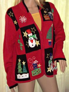 Christmas Sweater Ugly Tacky Red Cardigan Large Ramie Cotton Blend Holiday Party #TiaraInternational #FullZip
