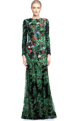 Luxury Flower Appliques Women Green Print Maxi Dress Elegant Sexy Long Sleeve A-Line Dresses K9665