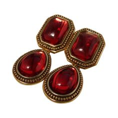 bb2e98972fd Yves Saint Laurent Earrings Red Glass Cabochon Gold Metal Drop YSL 70s |  From a unique