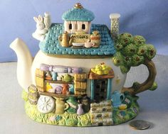 Antique Store House Teapot Easter Spring by Company Space Illuminated Ceramic | eBay