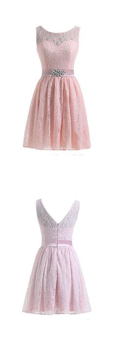 Flesh Pink Lace Short Homecoming Dresses Prom Dresses
