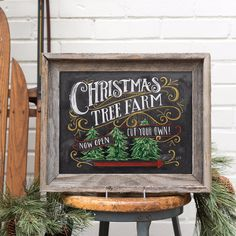 Lily & Val – Christmas Tree Farm - Christmas Home Decor - Chalkboard Art - Rustic Holiday - Illustration by Valerie McKeehan