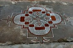 Indian Rangoli, Diwali Rangoli, Simple Rangoli, Beautiful Rangoli Designs, Kolam Designs, Padi Kolam, Floor Art, Mandala, Projects To Try