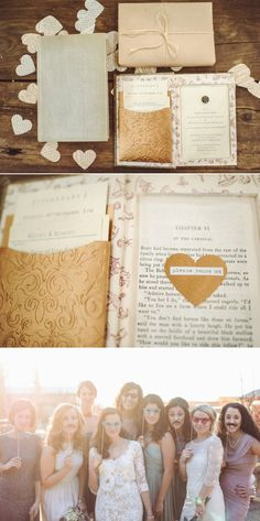 Rustic wedding invitation lyrical love collection song lyrics not so interested in the book but that little pocket is definitely an idea stopboris Gallery