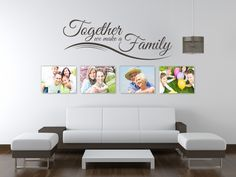 Sentimental design - great for any family unit - reads:Together we make a Family.  All our wall stickers/decals are available in a great range of sizes and colours - and can be personalised to be truly custom.