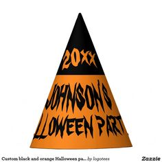 Custom black and orange Halloween party hats