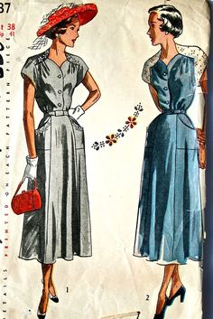 vintage 40's Simplicity 2737 dress with transfers by monicacarmel, $34.00 [pockets]