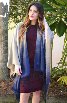 Click to shop - free shipping over $50!  Ombre Fringe Poncho - Navy – Worn & Raised