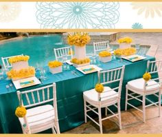 Table setting in mustard and teal