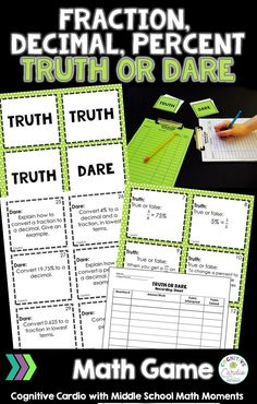 Are you looking for a different way to practice fraction, decimal, percent concepts? Your middle school math students will love playing this Fraction, Decimal, Percent Truth or Dare math game! Junior High Math, Math Card Games, Sixth Grade Math, Math Resources, Teaching Activities, Teaching Math, Math Classroom, Classroom Projects, Math Notebooks