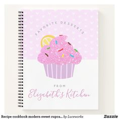 Recipe cookbook modern sweet cupcake hearts, pink notebook