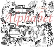 Vintage themed alphabet letter cards.  Includes upper and lower case letters with one image to match.  Many images allow for class discussion.  A Abacus B Boat C Car D Doll E Elephant F Fan G Girl H Horse & Hat I Insect J Jellyfish K Kitten L Lion M Moon N Nurse O Octopus P Parrot Q Quail R Rose S Snake T Turtle U Uniform V Violin W Wardrobe X X-ray Y Yacht Z Zebra  Print on colored cardstock, laminate, and enjoy.