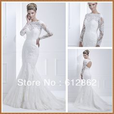 Elegant Long Train Cut Back Beaded Mermaid Long Sleeve Lace Wedding Dresses on AliExpress.com. $180.00