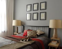 Bedroom Gray Paint Design... grey/red/brown color combo