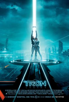 The beam of light is the main attraction in this movie poster as well as the two characters. The way she is standing next to him insinuates that they have some sort of relationship.