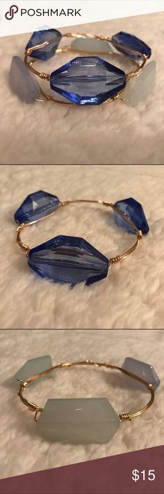Blue stackable gold bangle set This statement stack will complement any outfit whether worn alone or together. Made from acrylic beads. hand-crafted Jewelry Bracelets
