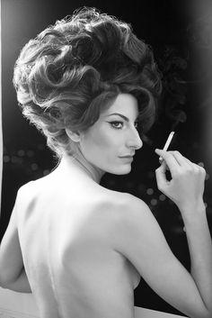 Model Daniele Antonopolus as Anouk Aimée: the woman in A Man and a Woman (1966)
