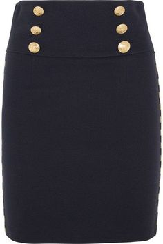 Pierre Balmain - Chain-embellished Cotton-blend Twill Mini Skirt - Navy