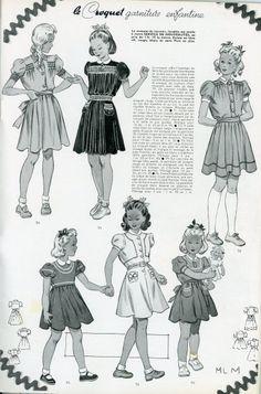 """Modes et travaux n° 489 - 15 janvier 1941 - """"le croquet garniture enfantine"""" : charmantes petites robes ornées de croquet."""