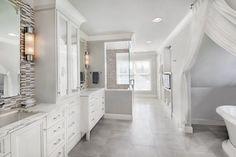 DYNAMIC DRAPES - Amy Weinstein, AMW Design Studio Master Bathroom Fabric: Pindler, Suite 69 in MDC - See additional luxury design: https://www.michigandesign.com/epub/2015/spring/#46
