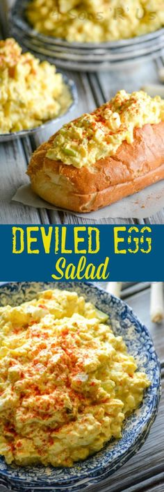 Dont wait for a party to make a batch of yummy deviled eggs. With this easy Deviled Egg Salad you can enjoy their creamy seasoned taste any day- and serve it up for virtually any meal- lunch dinner even a snack. It's a perfect way to use up leftover Egg Recipes, Lunch Recipes, Salad Recipes, Cooking Recipes, Burger Recipes, Easter Recipes, Deviled Egg Salad, Deviled Eggs Recipe, Egg Salad Sandwiches