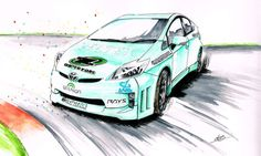 Debut of the world's first all-electric drift Prius