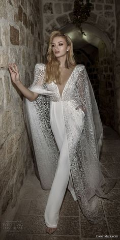 dany mizrachi spring 2018 bridal cap sleeves deep plunging v neck heavily embellished bodice sophiscated jumpsuit wedding dress open v back (36) mv -- Dany Mizrachi Spring 2018 Wedding Dresses