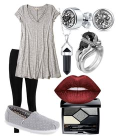 """""""legging grey"""" by zombiebarbie1333 on Polyvore featuring Boohoo, Bridge Jewelry, Bling Jewelry, Christian Dior, Hollister Co., Lime Crime and TOMS"""