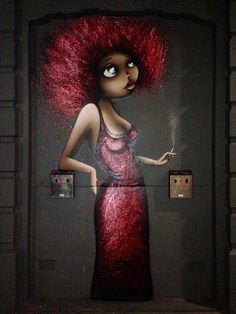 Lady in red by Vinie Graffiti, London. http://stores.ebay.com/urban-art-designs?_trksid=p2047675.l2563