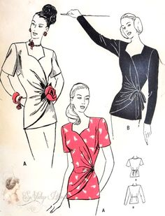 1940s Draped Over Blouse Pattern Stunning Day or Evening Surplice Side Wrap Draped Blouse, Sweetheart Neckline Butterick 4325 Vintage Sewing Pattern Bust 32