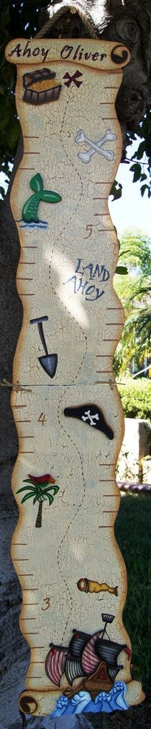 Boy Growth Chart Pirate Theme Wood Sign Children by Cherables